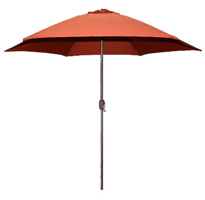 outdoor umbrella 9u0027 round crank patio umbrella - rust FYZNPGW