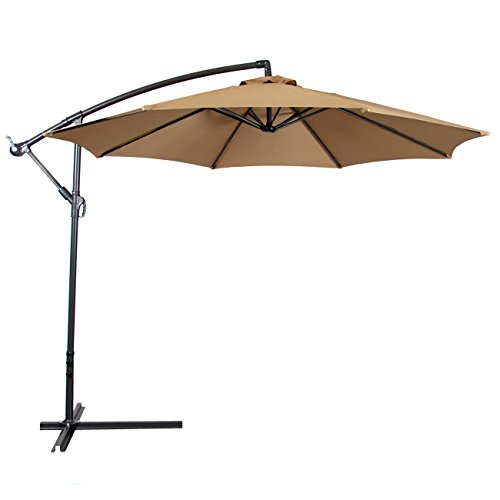outdoor umbrella best choice products patio umbrella offset 10u2032, tan CTDOLKB