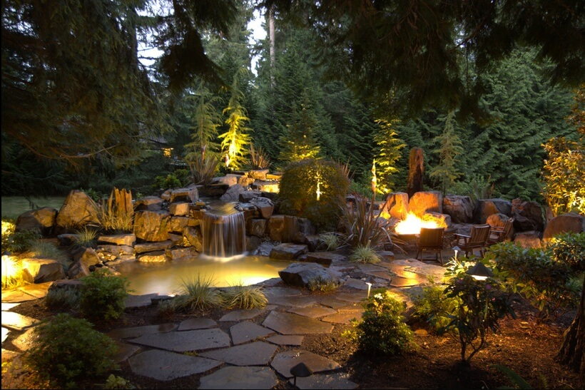 pairing your garden lights with other lighting features can tie together  your garden theme. here HTLOFBJ