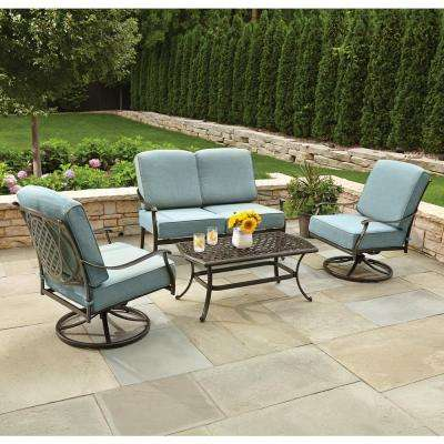 patio conversation sets belcourt 4-piece metal patio conversation set with spa cushions LEBTXJA