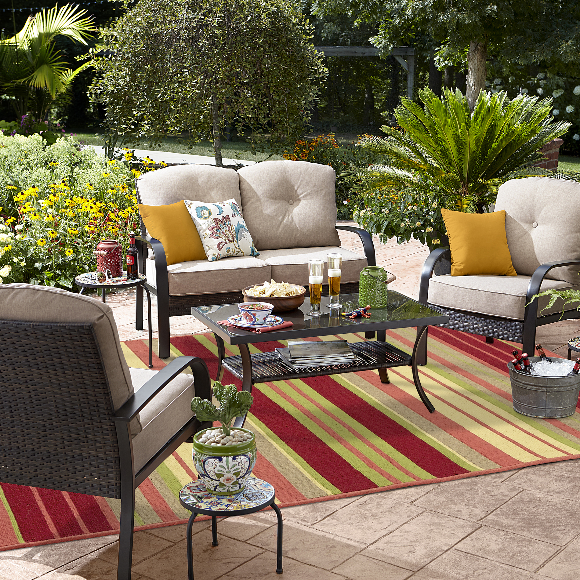patio conversation sets grand harbor logandale 4 piece seating set in tan *limited availability* ACUHJOL