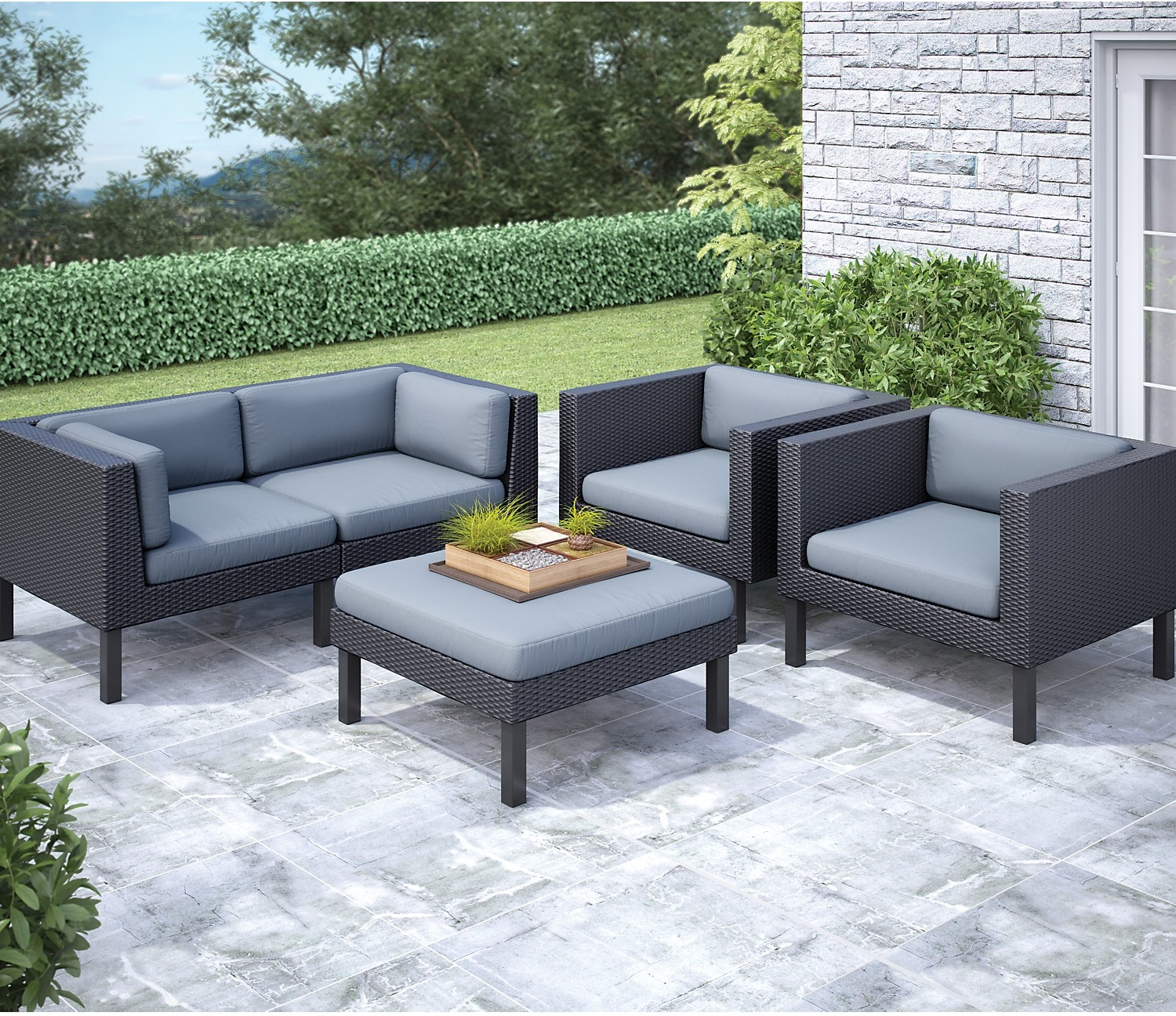 patio conversation sets oakland piece patio conversation set - black the brick RGVDLPS