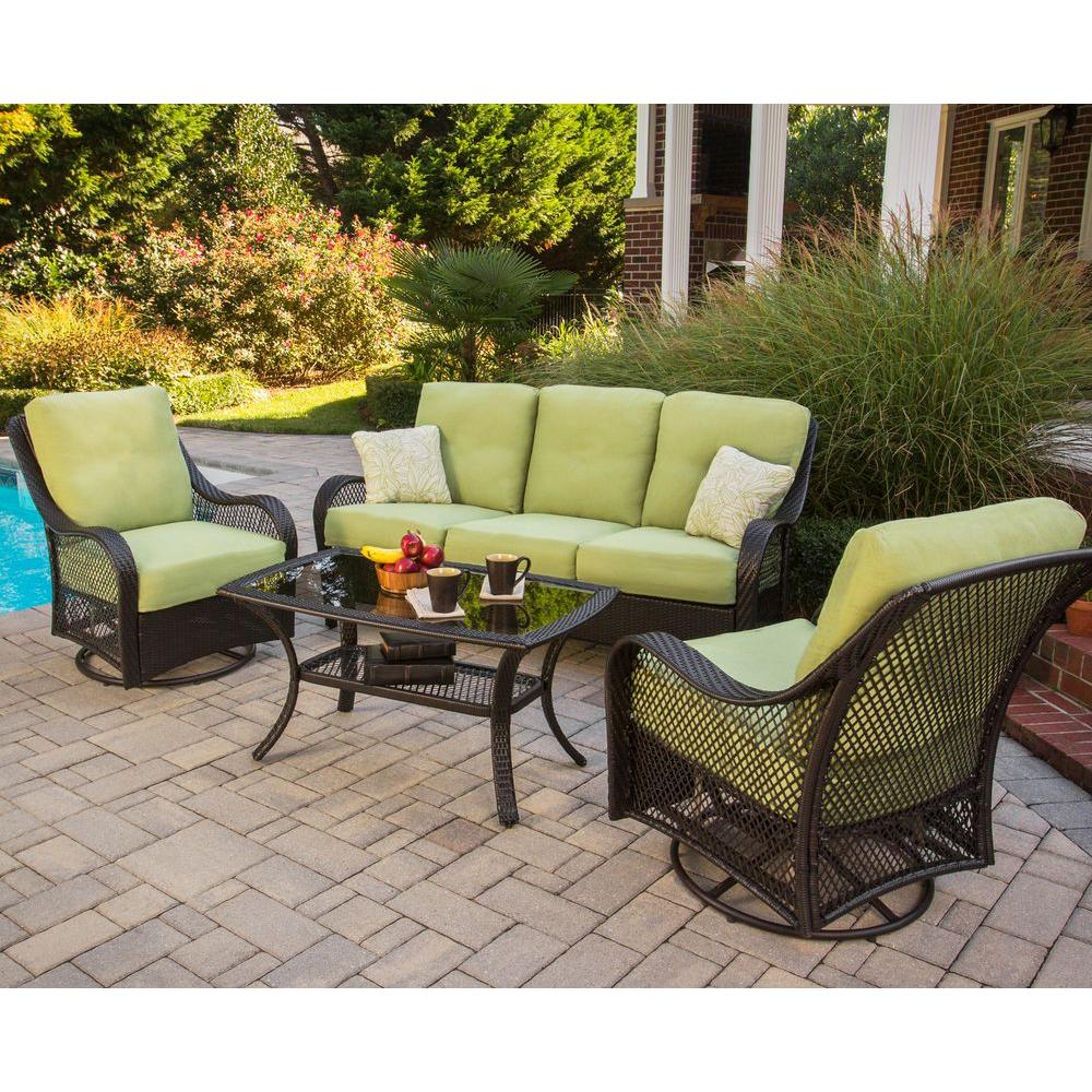 patio conversation sets orleans 4-piece patio seating set with avocado cushions HVKEDVB