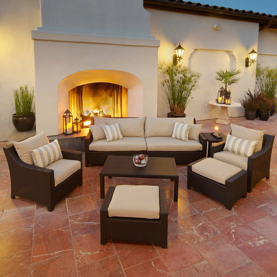 patio conversation sets rst brands deco 8-piece wicker patio conversation set LXCODFQ