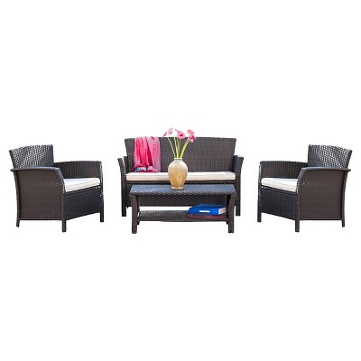 patio conversation sets santa lucia 4pc pe wicker patio conversation set - brown - christopher  knight home WTMWUJB