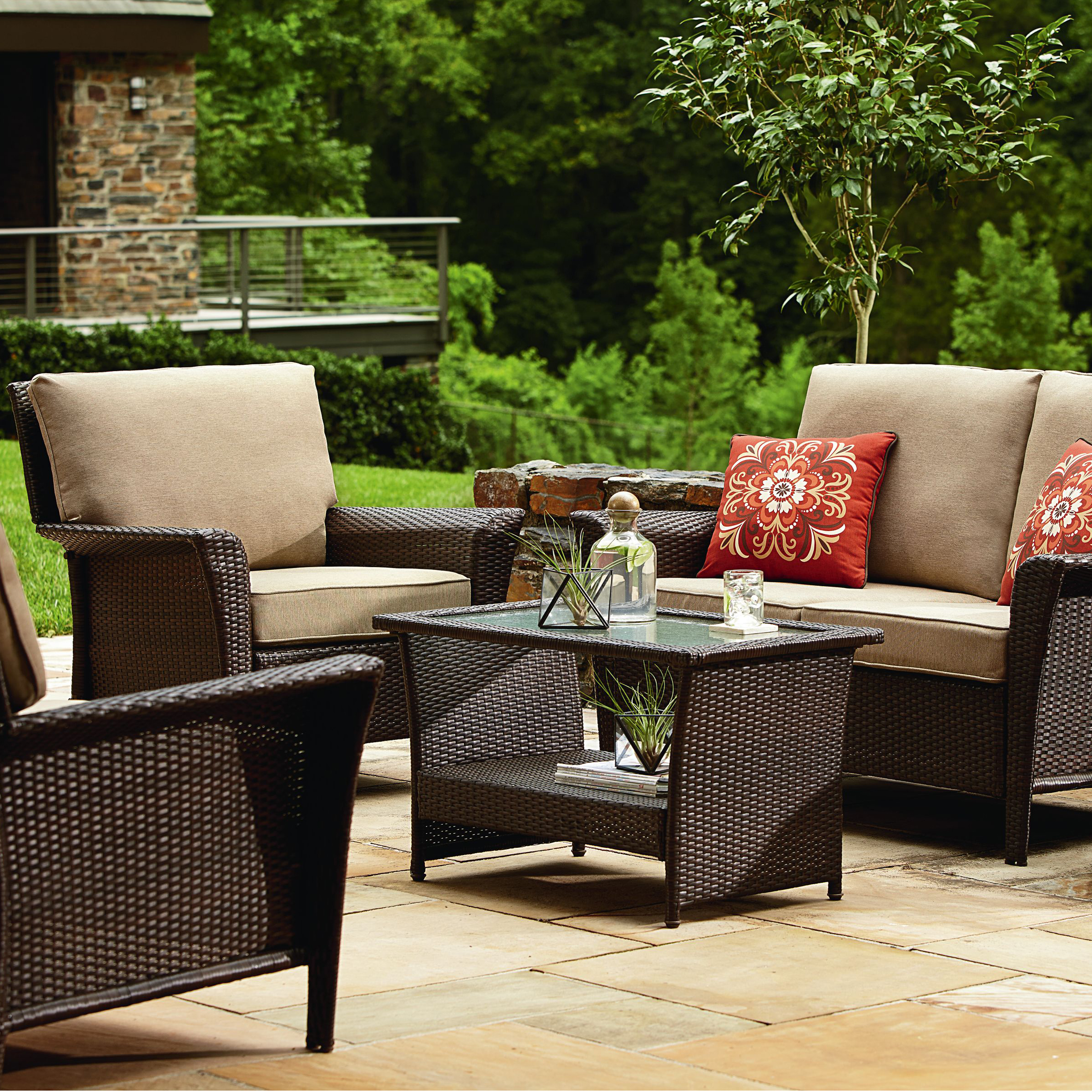 patio conversation sets ty pennington parkside 4 piece seating set- tan *limited availability* HYUITEM