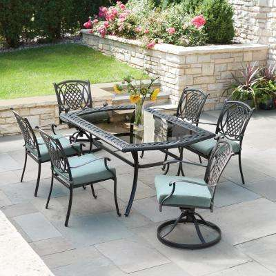 patio dining sets belcourt 7-piece metal outdoor dining set with spa cushions ZGRREOL