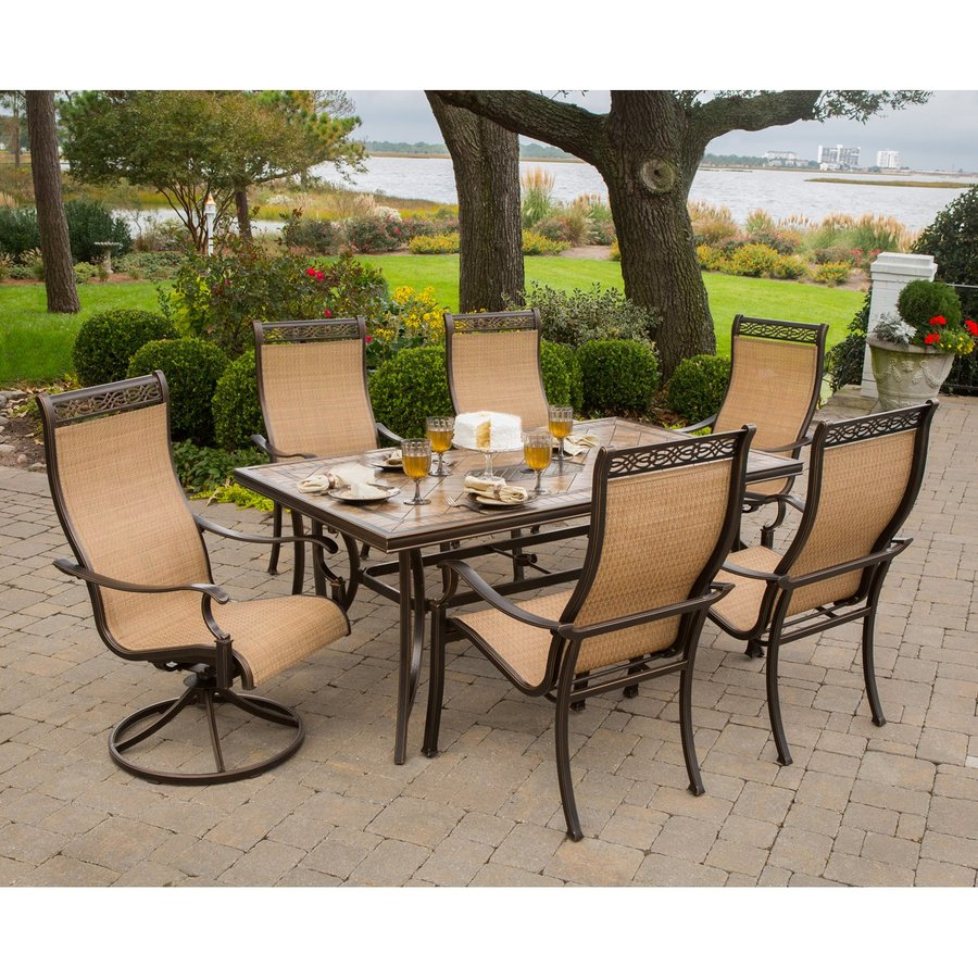 patio dining sets hanover outdoor furniture monaco bronze stone patio dining set PDFCIDD