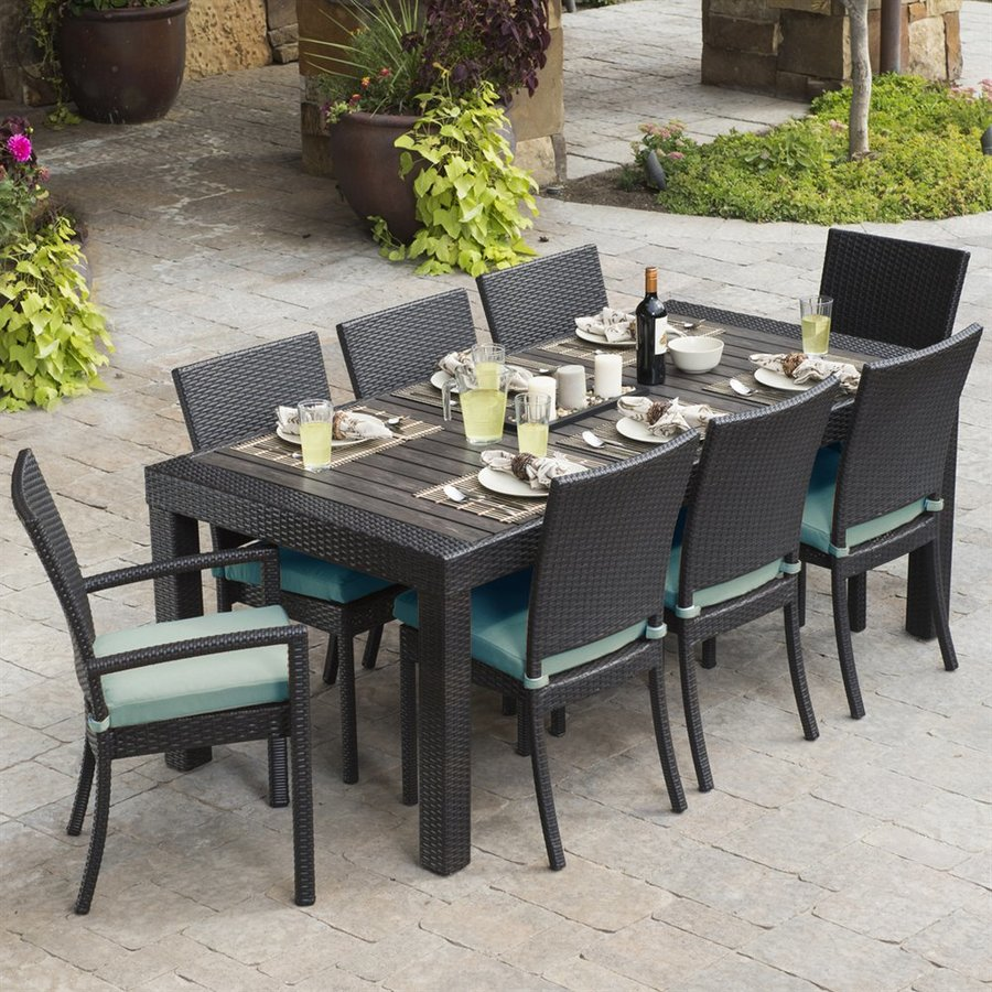 patio dining sets rst brands deco 9-piece composite patio dining set ITBYXPJ
