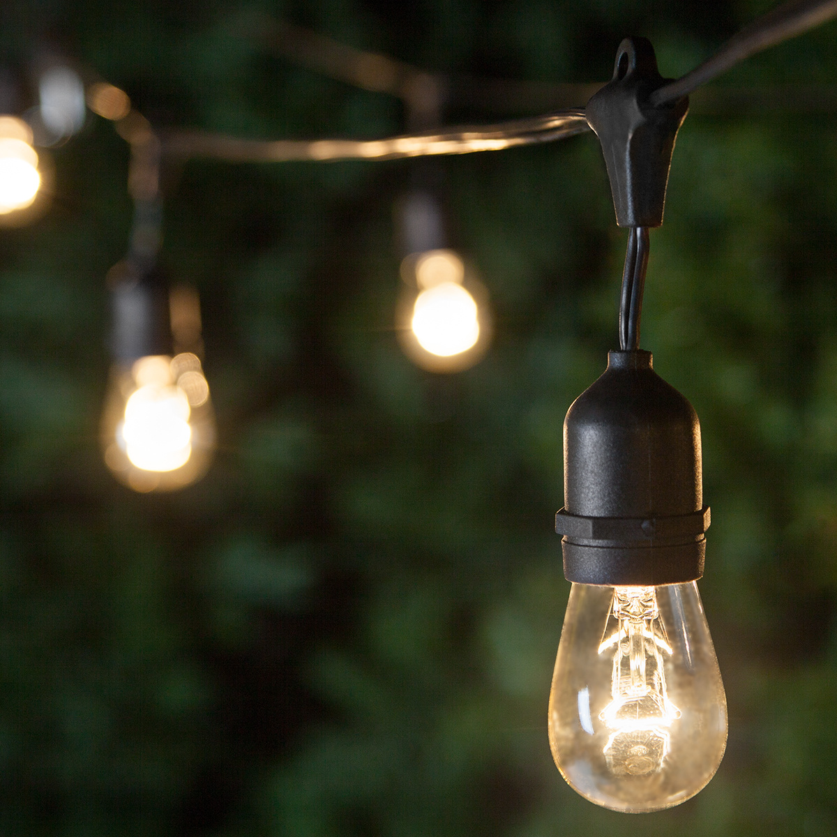 patio lights - commercial clear patio string lights, 24 s14 e26 bulbs black  wire MWTRYZY