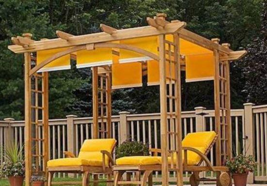 pergola designs amazing japanese pergola design with yellow canopy fabric AOOJXXR