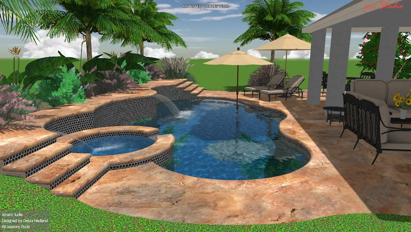pool designs 1 3-d spa and pool with waterfall OPVUOPP