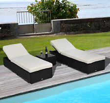 pool furniture 3pc rattan wicker chaise lounge chair set outdoor patio garden furniture  pool KJDGBCC
