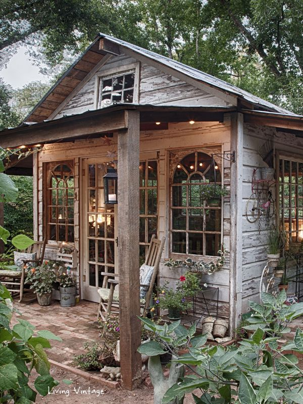 potting shed amazing garden shed created with vintage windows, salvaged wood and vintage  decor. featured at VGMRZVB