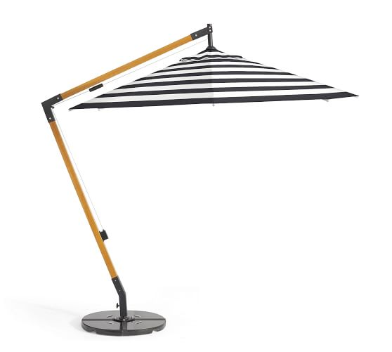premium sunbrella® wooden cantilever umbrella - stripe NOIEHXW