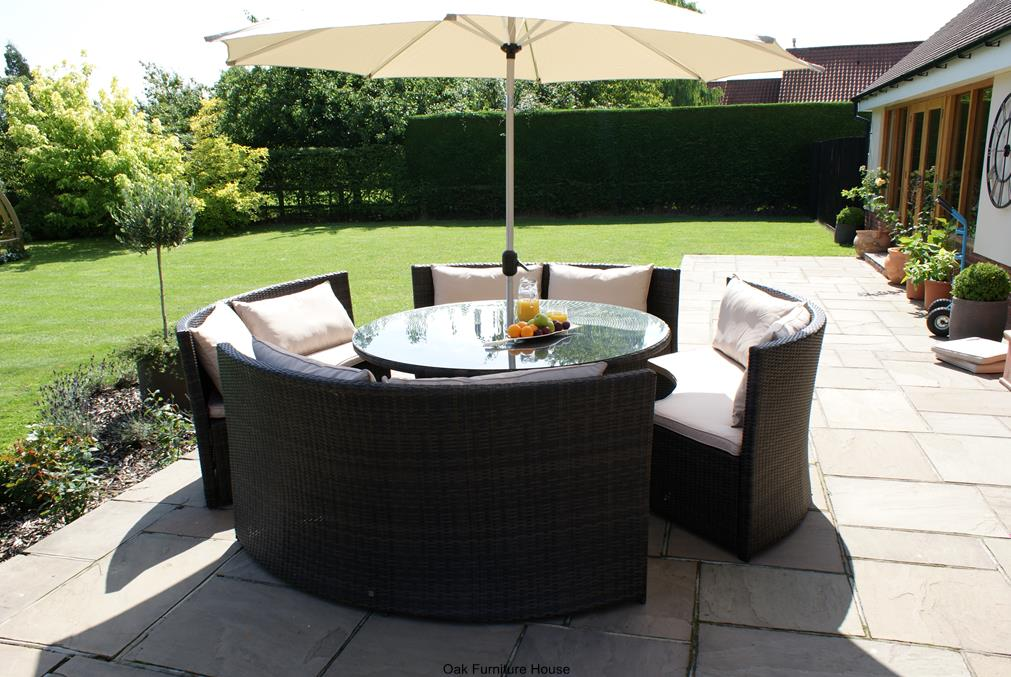 rattan garden furniture new york rattan outdoor garden furniture round table sofa parasol set UYTDKET