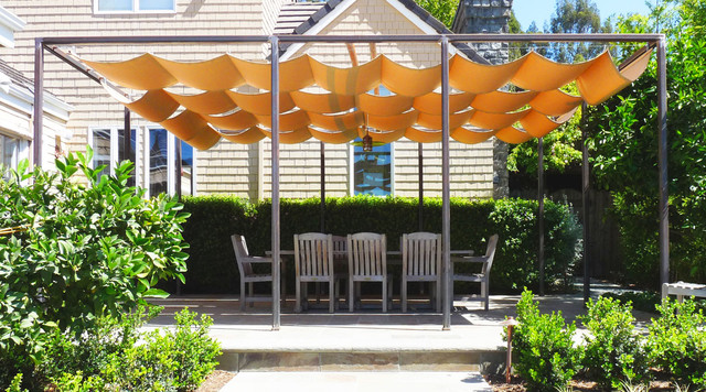 retractable sun shade covered terrace traditional-patio POTNRUV
