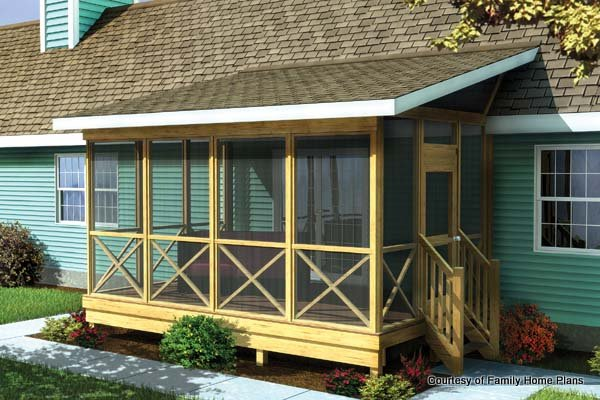 screened in porch family home plans screened porch plan #90012 SHALBDE