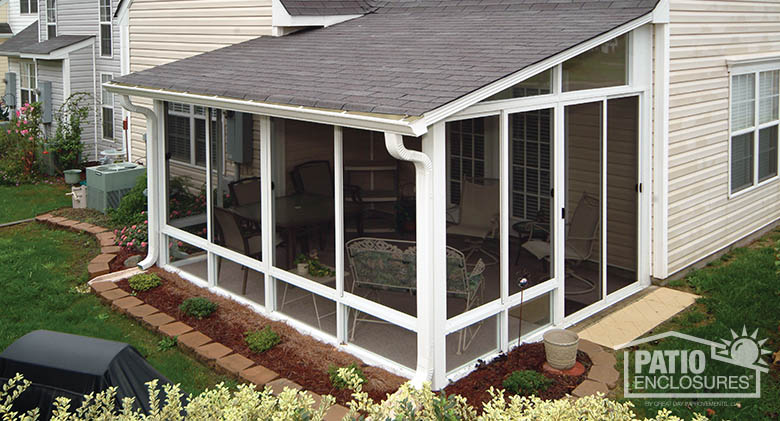 screened in porch white aluminum frame screen room with single-slope roof KKWZSPL