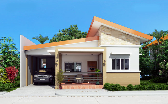 simple house design a common toilet and bath at the kitchen serves the 2 bedrooms and the  masteru0027s bedroom VVMAGIP