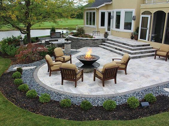Lovely Stairs, Firepit, Paver Patio With Travertine, Back Yards, Patio ODRPVMU