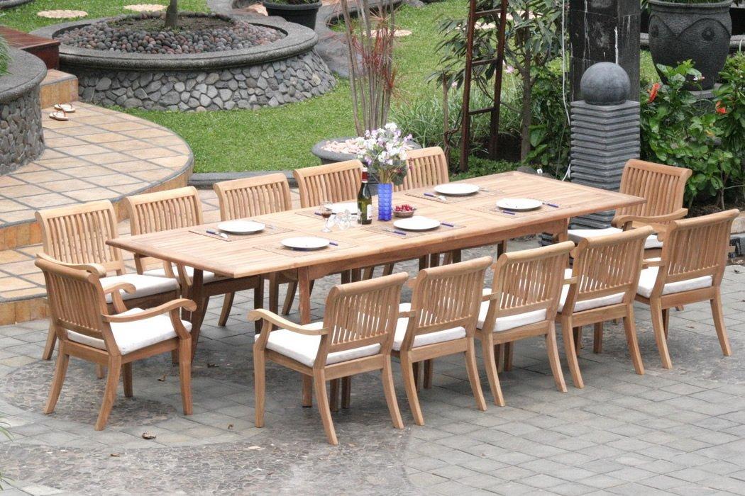 teak outdoor furniture 13-piece-teak-dining-set JEOTRRW