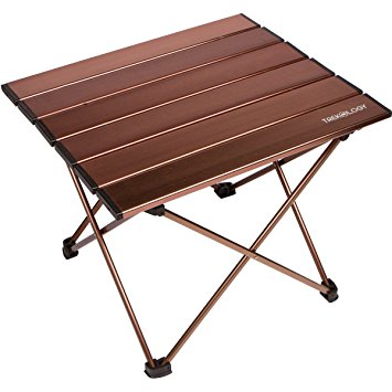 trekology portable camping table with aluminum table top, hard-topped  folding table in a GHSMOEA