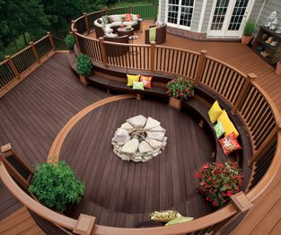 trex transcend circular composite decking and railing in tree house medium  brown and vintage RPNQRUH