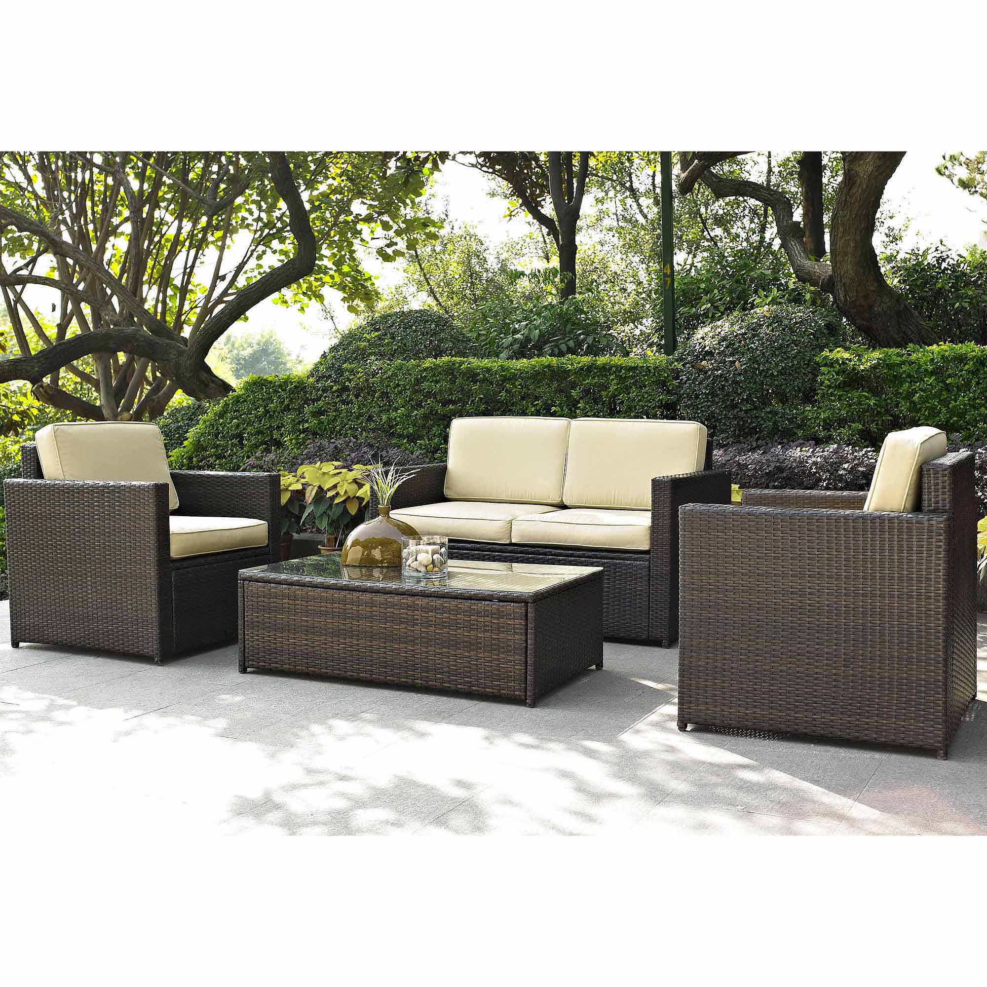 wicker patio furniture best choice products outdoor garden patio 4pc cushioned seat black wicker  sofa furniture set - walmart.com GJQXAYP