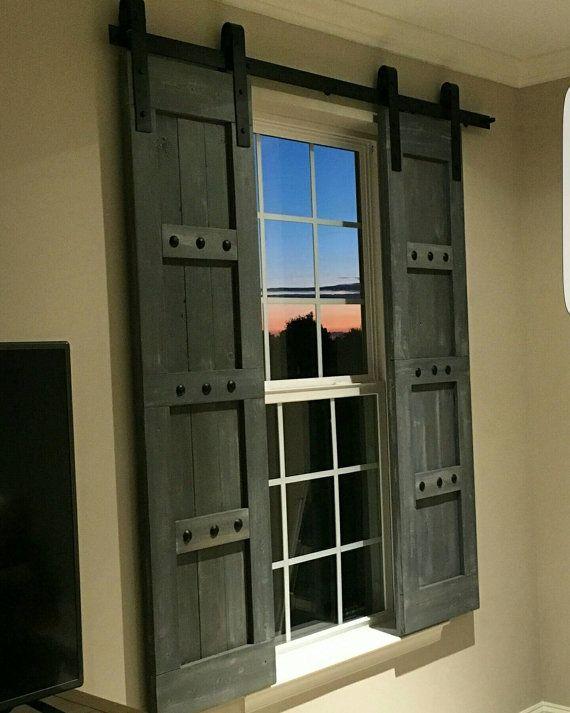 window shutters interior window barn door - sliding shutters - barn door shutter hardware  packages available - farmhouse XICMGSK