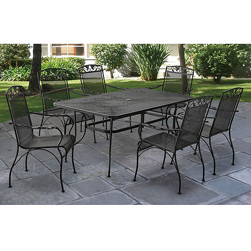wrought iron patio furniture mainstays jefferson wrought iron 7-piece patio dining set, seats 6 IYYBAQH