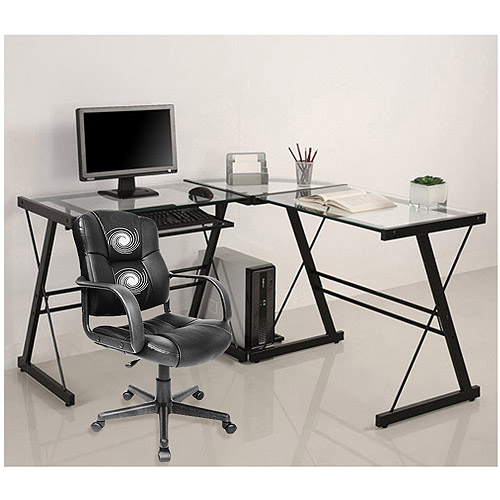 3-piece glass computer desk and relaxzen 2-motor mid-back leather office ZZDQDRR