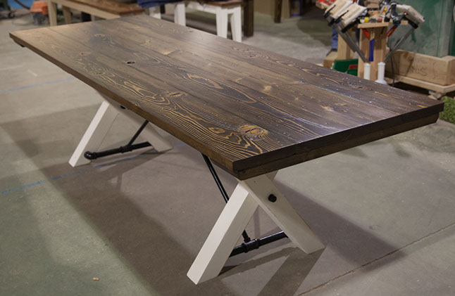 8u0027 trestle table top: stained dark walnut (distressed) / base: distressed  ivory VVOBJDL