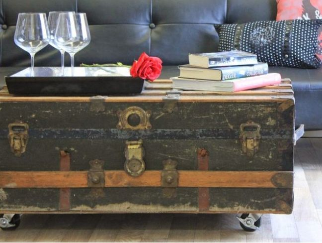 antique steamer trunk coffee table KBWGQSM