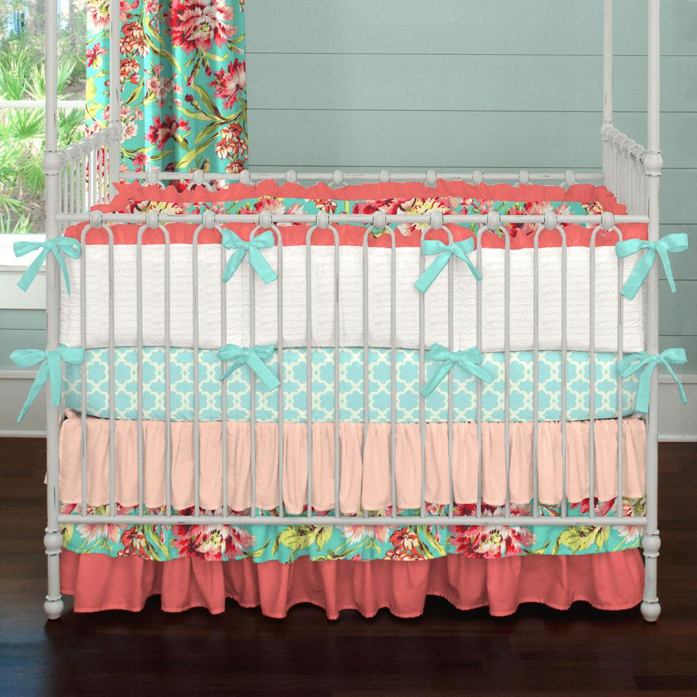baby girl bedding kumari garden crib bedding · coral and teal floral crib bedding GXLYUVW