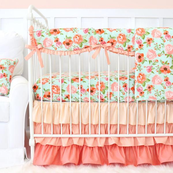 baby girl bedding mint and coral vintage floral ruffle baby bedding DIFZIUU