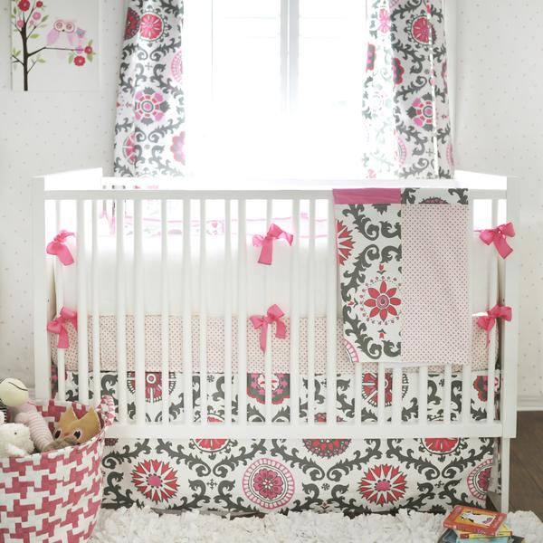 baby girl bedding ragamuffin in pink pink and gray baby bedding set OVWSEJM
