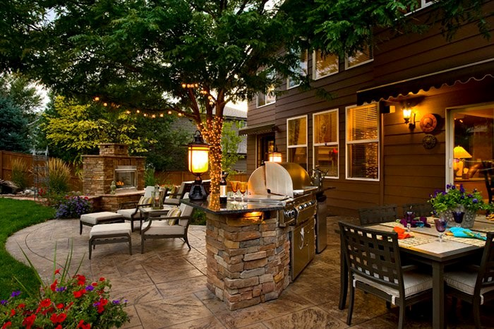 backyard landscaping backyard outdoor living, built-in grill, fireplace, stamped concrete patio backyard  landscaping YQEKRNH