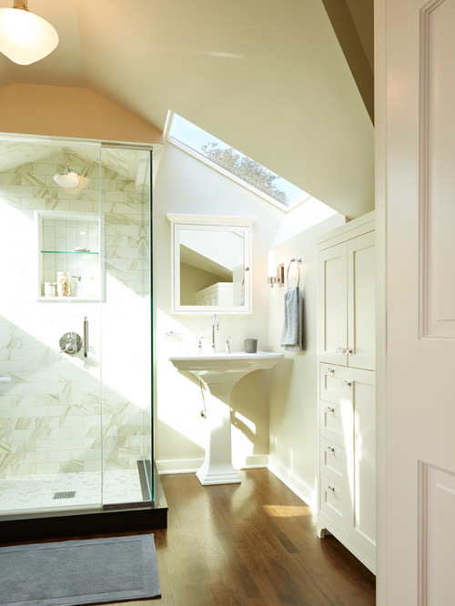 bathroom ceiling lights example of a classic bathroom design in seattle with a pedestal sink, NCRDZUU