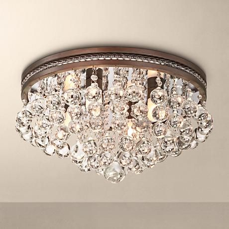 bathroom ceiling lights itu0027s raining crystals with this flushmount ceiling light comprised of  clustered clear ZJFTOAR