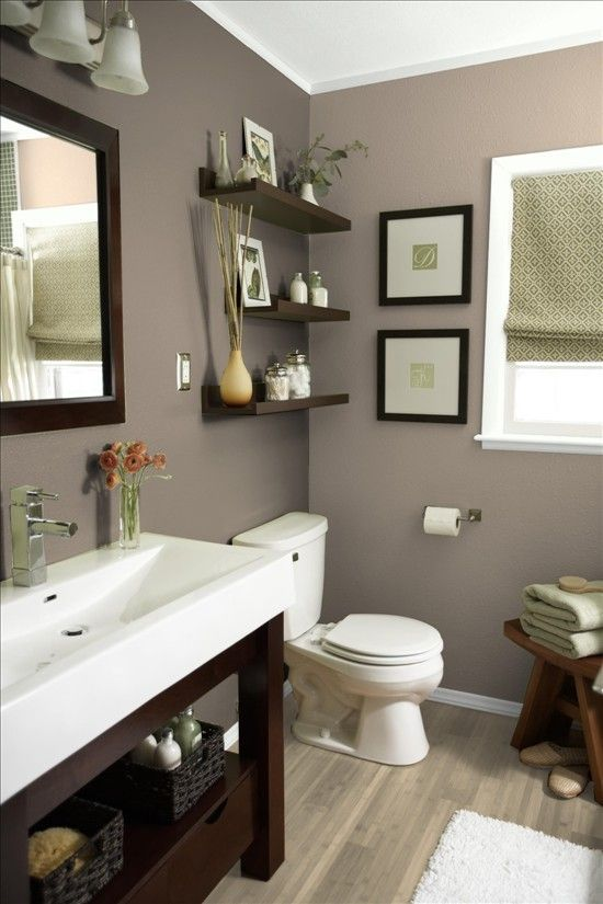 bathroom colors bathroom vanity, shelves and beige/grey color scheme. more bath ideas here: EFXHHKP