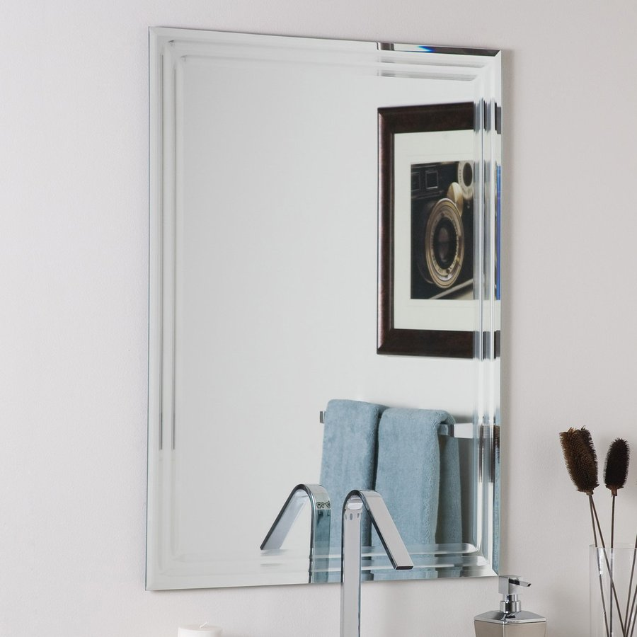 bathroom mirrors decor wonderland 23.6-in x 31.5-in rectangular frameless bathroom mirror POWWQQK