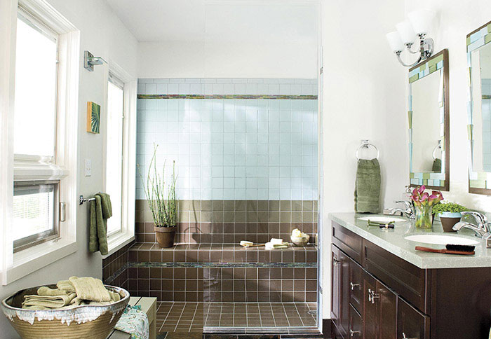 bathroom remodel ideas bathroom with contemporary double vanity and brown tiles UOSABMN
