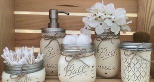 bathroom sets einmachglas-badezimmer-set einweckgläser badezimmer dekor EYVILYB
