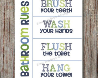 bathroom wall art wash your hands brush your teeth hang your towel flush IAVBHYQ