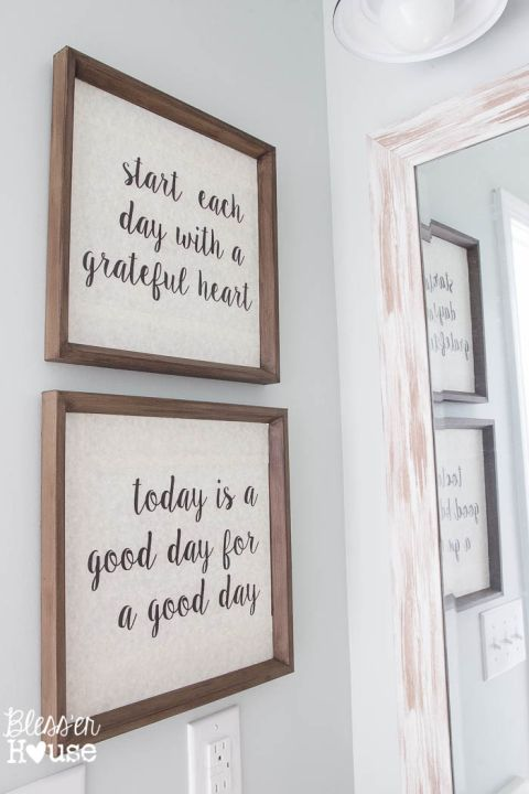 bathroom wall decor modern farmhouse bathroom makeover reveal IZLSUEF