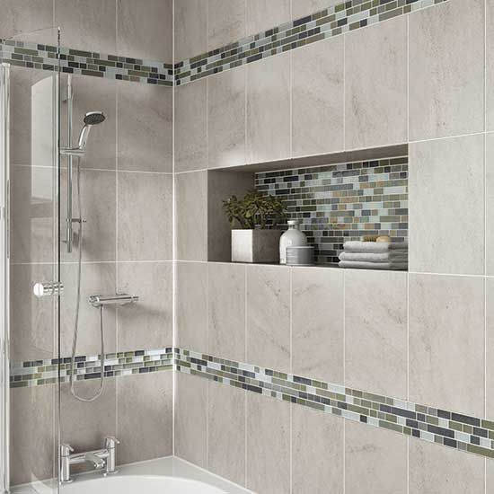 bathroom wall tiles details: photo features castle rock 10 x 14 wall tile with glass horizons SWIXYIE