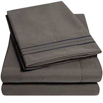 bed sheets 1500 supreme collection extra soft queen sheets set, gray - luxury bed FJTUVCU