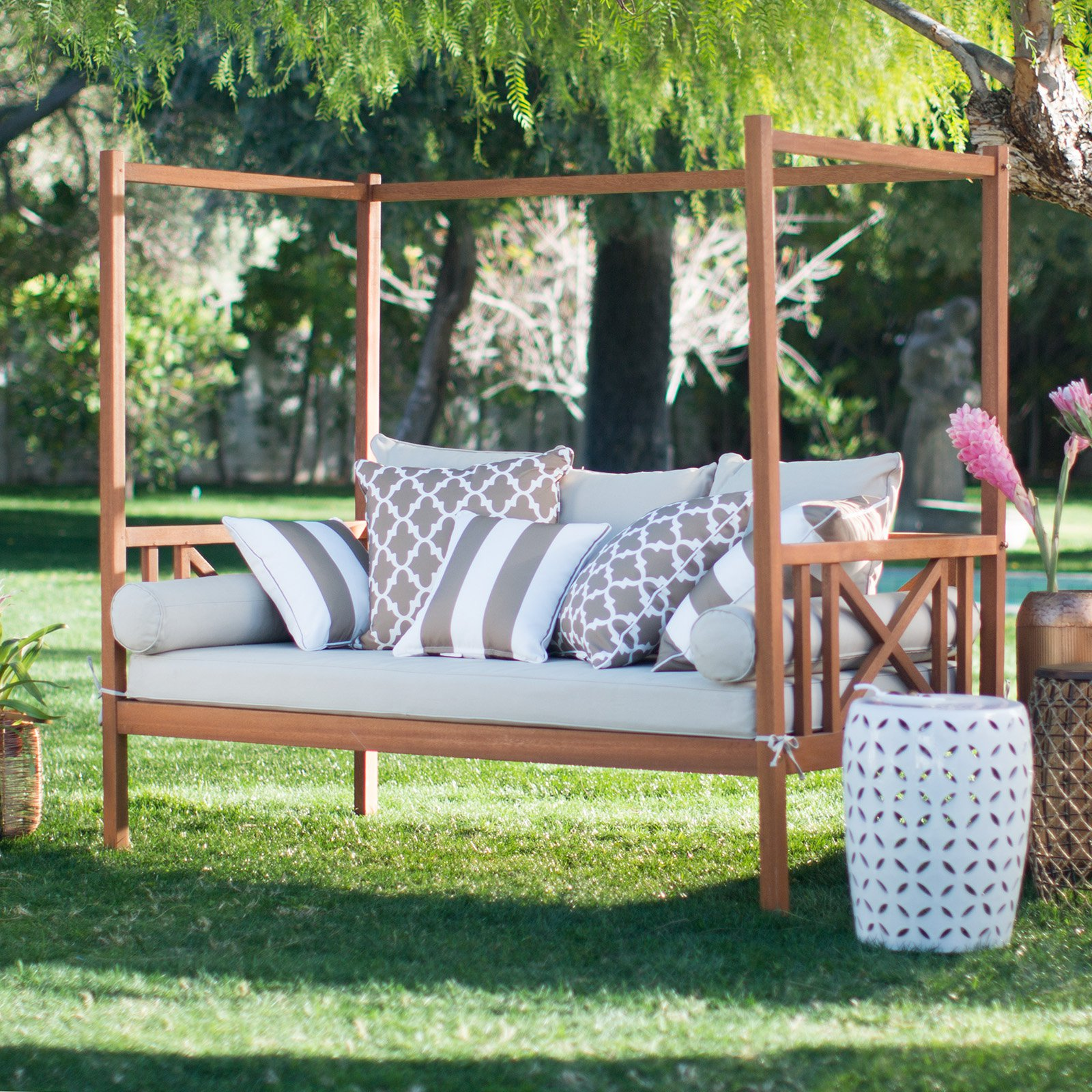 belham living brighton outdoor daybed and ottoman - natural - outdoor  daybeds QPJRAVE