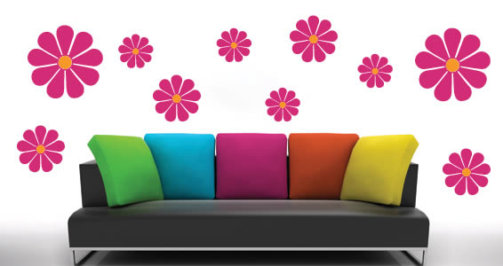 bicolor flower wall art decals GQVOZGB